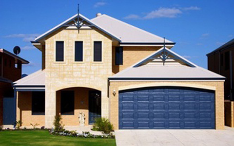 Blue Garage Door in Two Storey Home